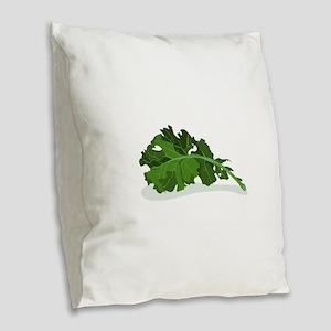 Kale Leaf Burlap Throw Pillow