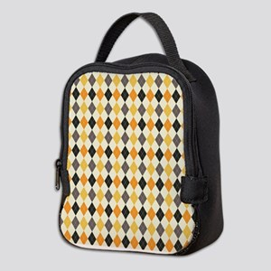 Halloween Argyle Pattern Neoprene Lunch Bag
