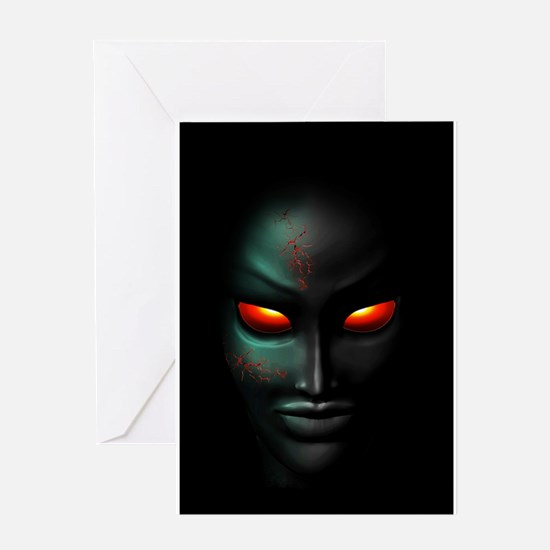 Zombie Ghost Halloween Face Greeting Cards