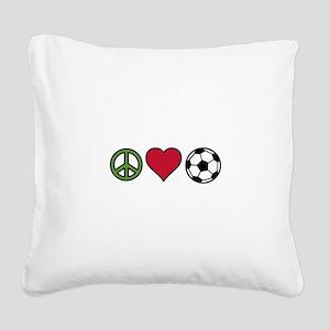 Peace Love Soccer Square Canvas Pillow