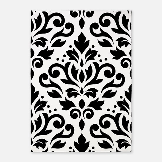 Scroll Damask Blk On White Lg Ptn 5'x7'are