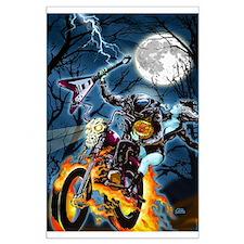 Headless Horseman ghost biker Large Poster