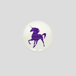 Purple Fire Unicorn Mini Button