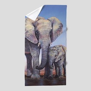 Elephants Mom Baby Beach Towel
