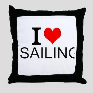 I Love Sailing Throw Pillow