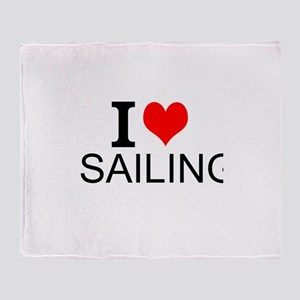 I Love Sailing Throw Blanket