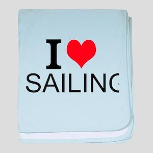 I Love Sailing baby blanket