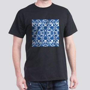 modern blue damask floral abstract pattern T-Shirt