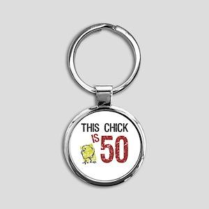 Women's Funny 50th Birthday Round Keychain