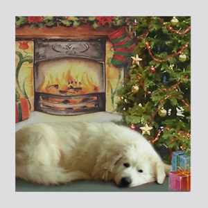 Great Pyrenees Tile Coaster, Christmas