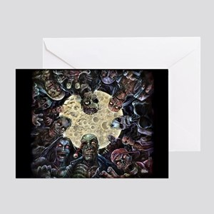 Zombies Full Moon Attack Greeting Card