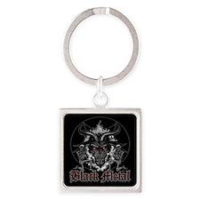 Black Metal Baphomet Pentagram Square Keychain