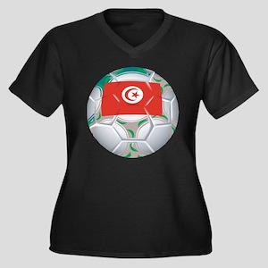 Tunisia Football Women's Plus Size V-Neck Dark T-S