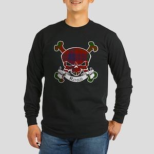 Ross Tartan Skull Long Sleeve Dark T-Shirt