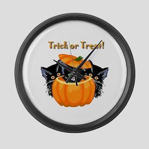 Halloween Trick or Treat Black Ca Large Wall Clock