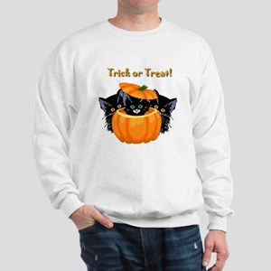 Halloween Trick or Treat Black Cats Sweatshirt