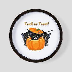 Halloween Trick or Treat Black Cats Wall Clock