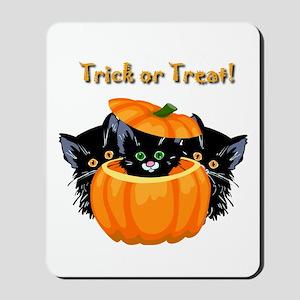 Halloween Trick or Treat Black Cats Mousepad