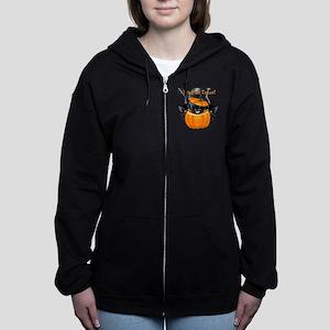 Halloween Trick or Treat Black  Women's Zip Hoodie