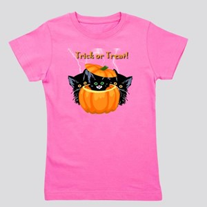 Halloween Trick or Treat Black Cats Girl's Tee