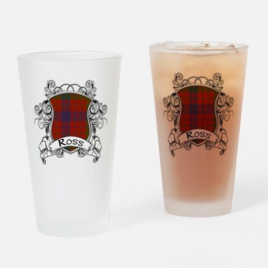Ross Tartan Shield Drinking Glass