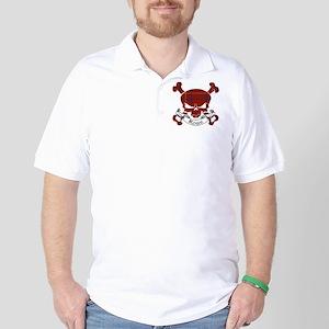 Rose Tartan Skull Golf Shirt