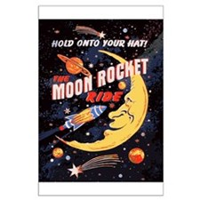 Moon Rocket Ride (vintage) Large Poster