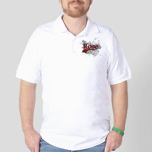 Rose Tartan Grunge Golf Shirt