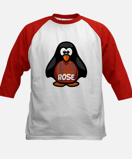 Rose Tartan Penguin Kids Baseball Jersey