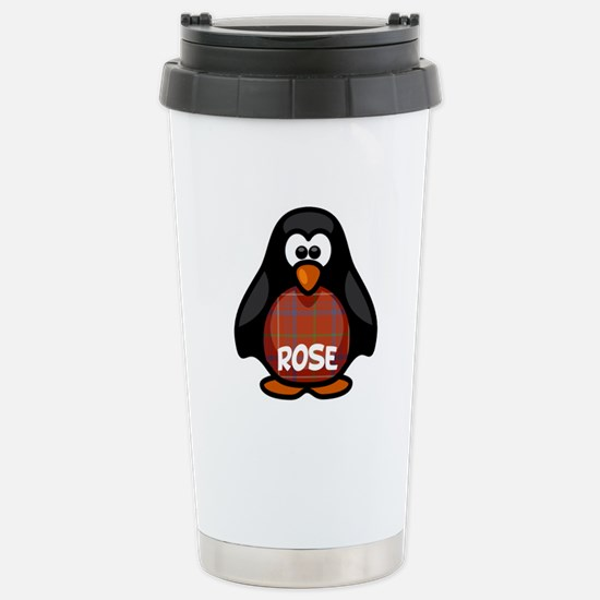 Rose Tartan Penguin Stainless Steel Travel Mug