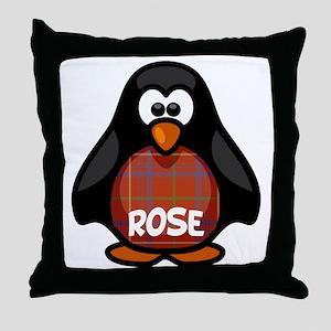 Rose Tartan Penguin Throw Pillow