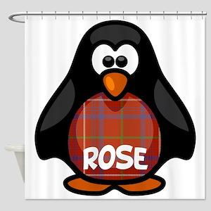 Rose Tartan Penguin Shower Curtain