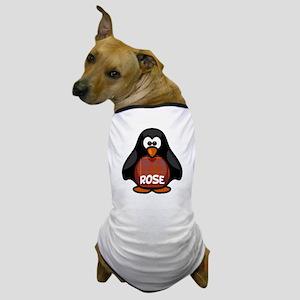 Rose Tartan Penguin Dog T-Shirt