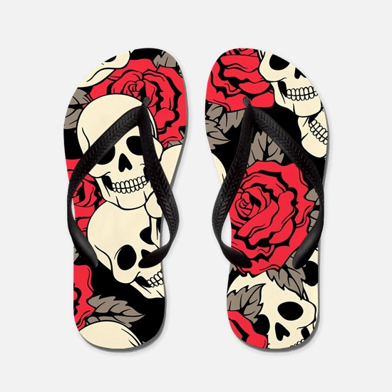 Flowers and Skulls Flip Flops