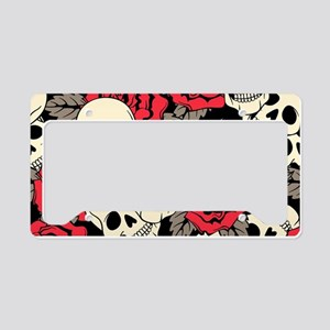 Flowers and Skulls License Plate Holder