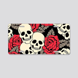 Flowers and Skulls Aluminum License Plate