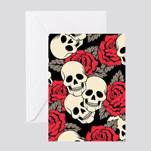 Flowers and Skulls Greeting Cards