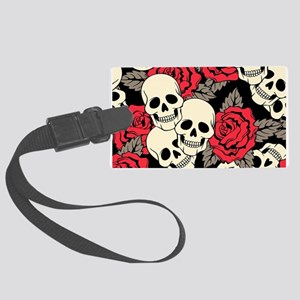 Flowers and Skulls Luggage Tag