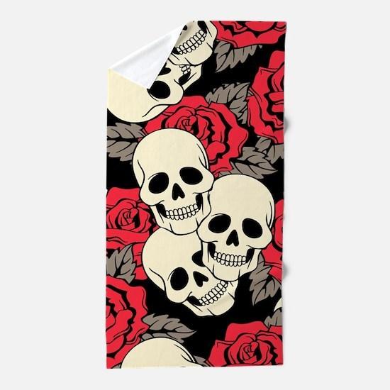 Flowers and Skulls Beach Towel