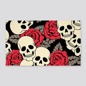 Flowers and Skulls 3'x5' Area Rug