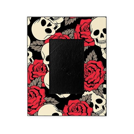 Delightful Flowers And Skulls Picture Frame
