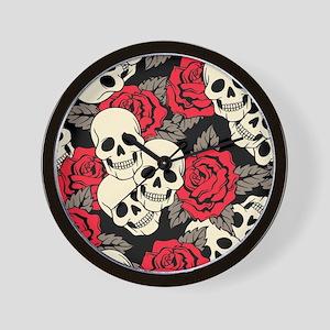 Flowers and Skulls Wall Clock