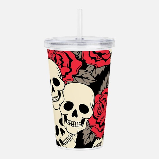 Flowers and Skulls Acrylic Double-wall Tumbler