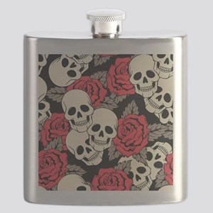 Flowers and Skulls Flask