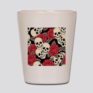 Flowers and Skulls Shot Glass