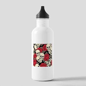 Flowers and Skulls Water Bottle