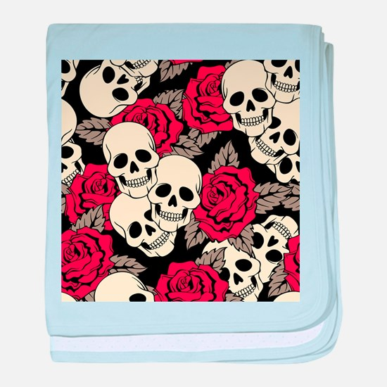 Flowers and Skulls baby blanket