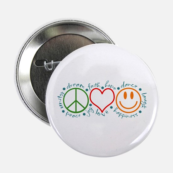 "Cute Peace love happiness 2.25"" Button"
