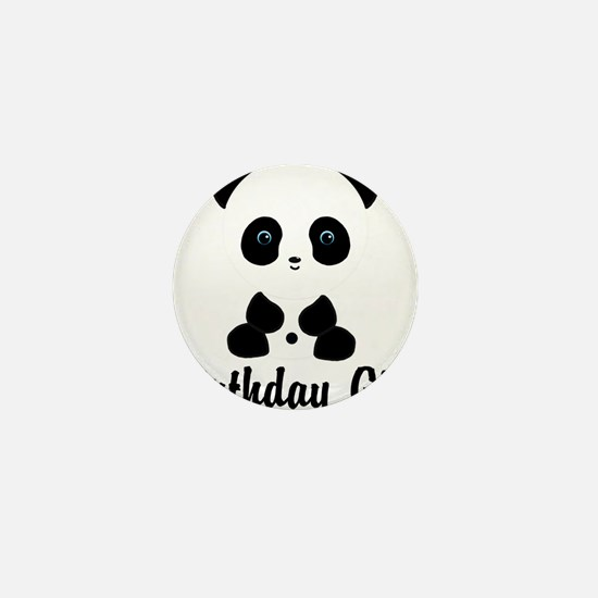 Birthday Girl Panda Bear Mini Button