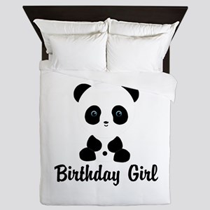 Birthday Girl Panda Bear Queen Duvet